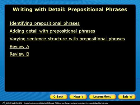 Writing with Detail: Prepositional Phrases