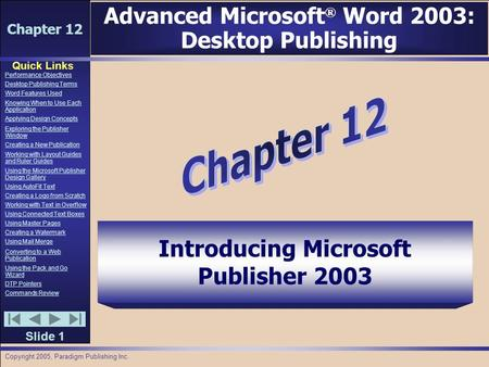 Chapter 12 Quick Links Slide 1 Performance Objectives Desktop Publishing Terms Word Features Used Knowing When to Use Each Application Applying Design.