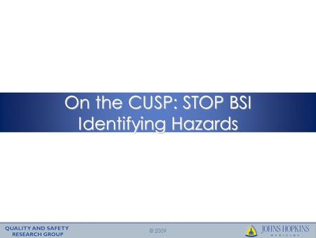 © 2009 On the CUSP: STOP BSI Identifying Hazards.
