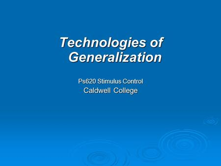 Technologies of Generalization