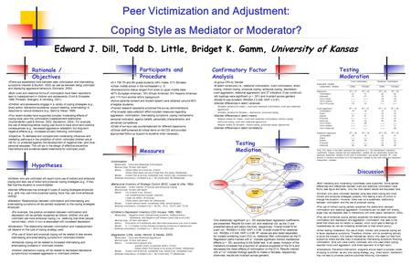 Peer Victimization and Adjustment: Coping Style as Mediator or Moderator? Edward J. Dill, Todd D. Little, Bridget K. Gamm, University of Kansas Hypotheses.