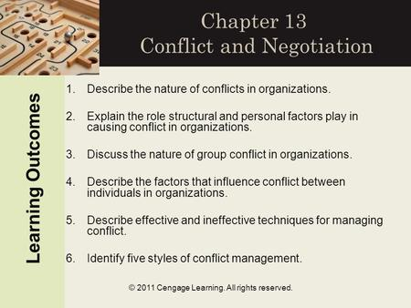 © 2011 Cengage Learning. All rights reserved. Chapter 13 Conflict and Negotiation Learning Outcomes 1.Describe the nature of conflicts in organizations.