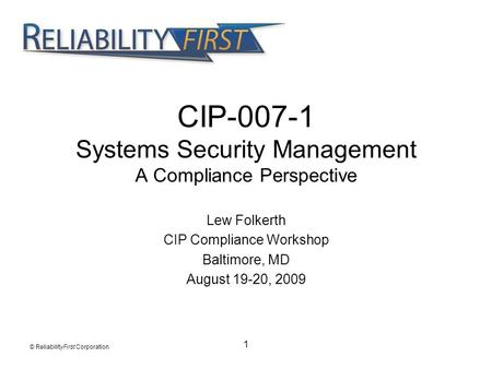 CIP Systems Security Management A Compliance Perspective