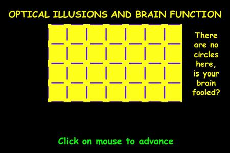 OPTICAL ILLUSIONS AND BRAIN FUNCTION Click on mouse to advance There are no circles here, is your brain fooled?