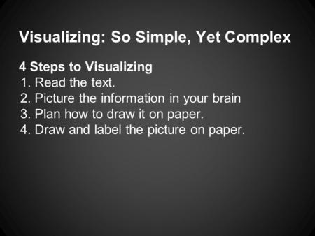 Visualizing: So Simple, Yet Complex 4 Steps to Visualizing 1.Read the text. 2.Picture the information in your brain 3.Plan how to draw it on paper. 4.Draw.