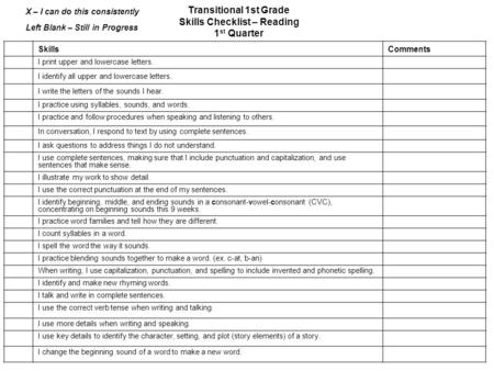 Transitional 1st Grade Skills Checklist – Reading 1 st Quarter SkillsComments I print upper and lowercase letters. I identify all upper and lowercase letters.