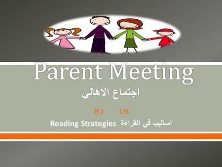  Reading Strategies اساليب في القراءة.  1. To discuss what is expected of us as parents, students and teachers.  2. To learn more about the DRA. 