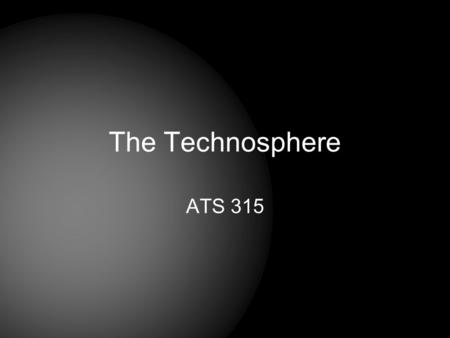 The Technosphere ATS 315. Why read the Stephenson book?