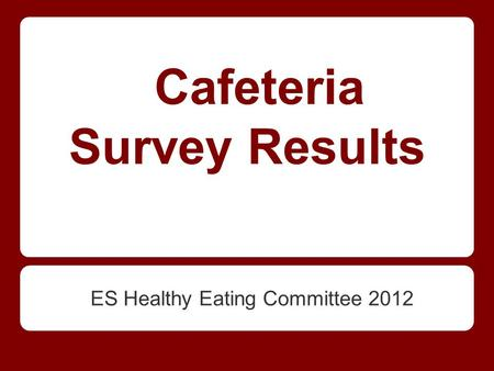 Cafeteria Survey Results ES Healthy Eating Committee 2012.
