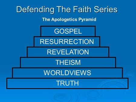 Defending The Faith Series The Apologetics Pyramid TRUTH WORLDVIEWS THEISM REVELATION RESURRECTION GOSPEL.
