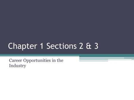 Chapter 1 Sections 2 & 3 Career Opportunities in the Industry.