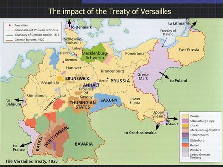 The impact of the Treaty of Versailles. PROBLEMATIC ARTICLES OF THE WEIMAR CONSTITUTION OF 1919 Proportional representation guaranteed minorities a voice.