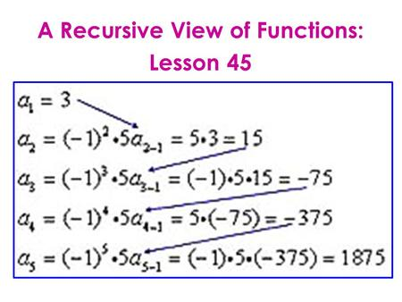 A Recursive View of Functions: Lesson 45. LESSON OBJECTIVE: Recognize and use recursion formula. DEFINITION: Recursive formula: Each term is formulated.