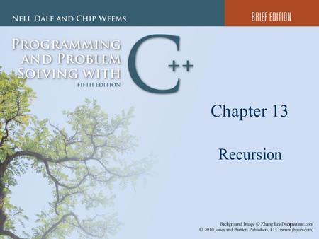 1 Chapter 13 Recursion. 2 Chapter 13 Topics l Meaning of Recursion l Base Case and General Case in Recursive Function Definitions l Writing Recursive.