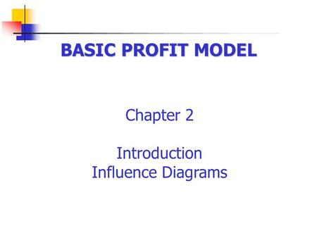 Chapter 2 Introduction Influence Diagrams BASIC PROFIT MODEL.