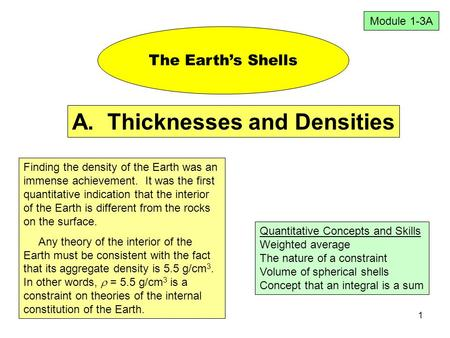 1 The Earth's Shells Quantitative Concepts and Skills Weighted average The nature of a constraint Volume of spherical shells Concept that an integral is.