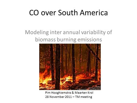 CO over South America Modeling inter annual variability of biomass burning emissions Pim Hooghiemstra & Maarten Krol 28 November 2011 – TM meeting.