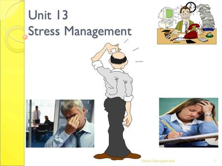 Unit 13 Stress Management 1Stress Management. 2 Contents Introduction Types of stress Potential sources of stress Consequences of stress Managing stress.