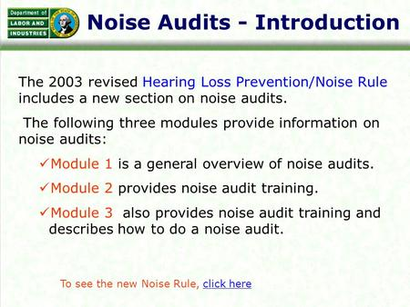 Noise Audits - Introduction The 2003 revised Hearing Loss Prevention/Noise Rule includes a new section on noise audits. The following three modules provide.