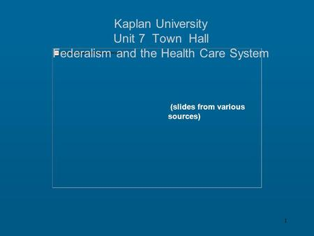 1 Kaplan University Unit 7 Town Hall Federalism and the Health Care System (slides from various sources)
