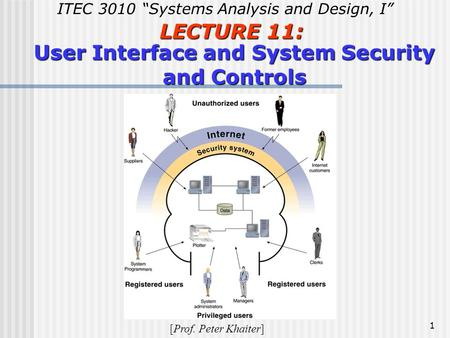 "1 LECTURE 11: User Interface and System Security and Controls ITEC 3010 ""Systems Analysis and Design, I"" [Prof. Peter Khaiter]"