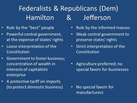 "Federalists & Republicans (Dem) Hamilton & Jefferson Rule by the ""best"" people Powerful central government, at the expense of states' rights Loose interpretation."