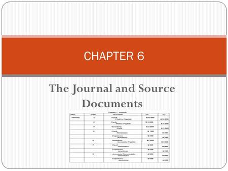 The Journal and Source Documents CHAPTER 6. A journal is a book in which the accounting entries for all transactions are first recorded, before they are.