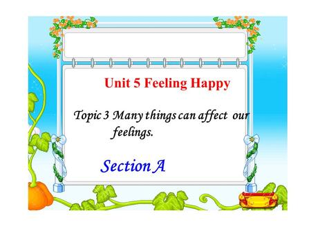 Unit 5 Feeling Happy Topic 3 Many things can affect our feelings. Section A.