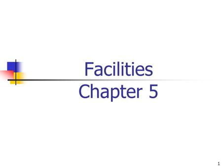 1 Facilities Chapter 5. 2 Objectives Facility Layouts Process Layout Design Product Layout Design Hybrid Layouts Facility Location.