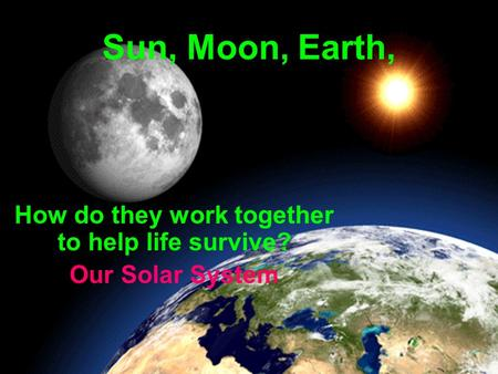 Sun, Moon, Earth, How do they work together to help life survive? Our Solar System.