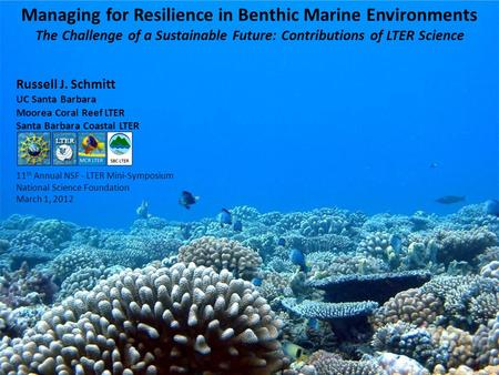 Managing for Resilience in Benthic Marine Environments The Challenge of a Sustainable Future: Contributions of LTER Science Russell J. Schmitt UC Santa.