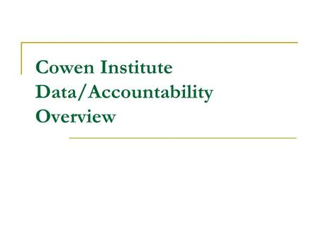 Cowen Institute Data/Accountability Overview. Measuring Performance RSD created to address Academic Failure Success/Failure needs to be judged on whether.