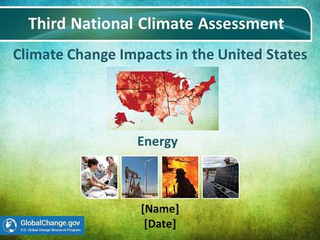 Climate Change Impacts in the United States Third National Climate Assessment [Name] [Date] Energy.