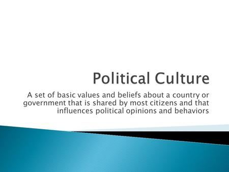 A set of basic values and beliefs about a country or government that is shared by most citizens and that influences political opinions and behaviors.