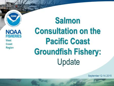 West Coast Region September 12-14, 2015 Salmon Consultation on the Pacific Coast Groundfish Fishery: Salmon Consultation on the Pacific Coast Groundfish.