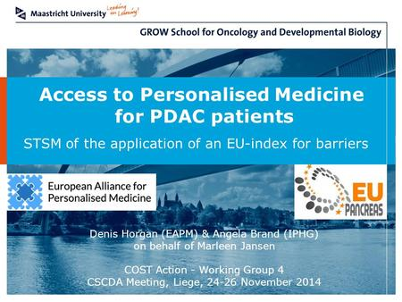 Access to Personalised Medicine for PDAC patients STSM of the application of an EU-index for barriers Denis Horgan (EAPM) & Angela Brand (IPHG) on behalf.