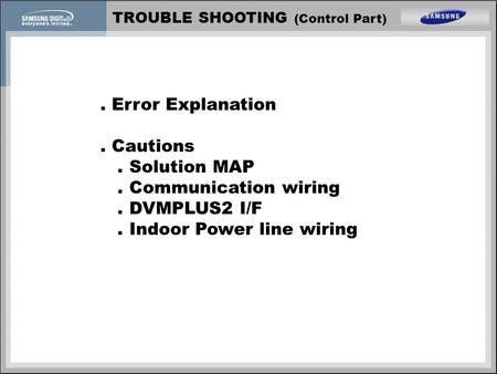 . Error Explanation . Cautions . Solution MAP . Communication wiring