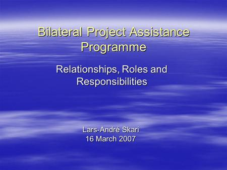 Bilateral Project Assistance Programme Lars-André Skari 16 March 2007 Relationships, Roles and Responsibilities.