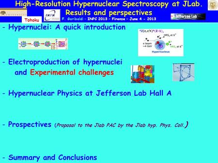 High-Resolution Hypernuclear Spectroscopy at JLab. Results and perspectives F. Garibaldi – INPC 2013 – Firenze – June 4 - 2013 - Hypernuclei: A quick introduction.