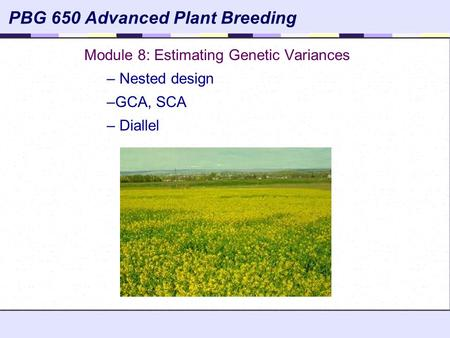 Module 8: Estimating Genetic Variances Nested design GCA, SCA Diallel