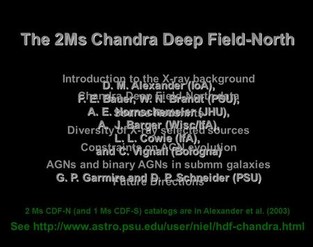 Introduction to the X-ray background Chandra Deep Field-North data Source Redshifts Diversity of X-ray selected sources Constraints on AGN evolution AGNs.