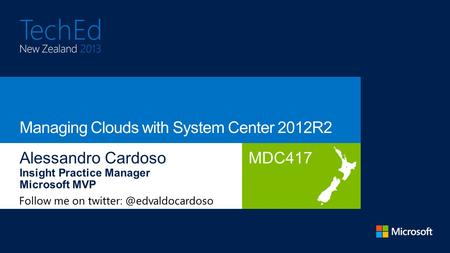 MDC417 Follow me on Working as Practice Manager for Insight, he is a subject matter expert in cloud, virtualization and management.