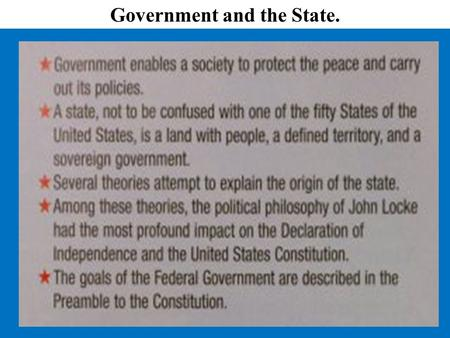 Government and the State.. Forms of Government Basic Concepts of Democracy.