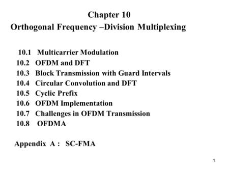 Chapter Multicarrier Modulation