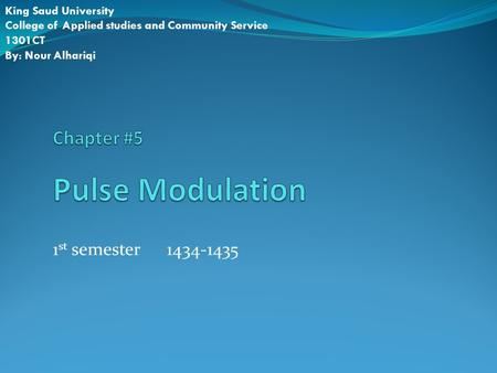 Chapter #5 Pulse Modulation