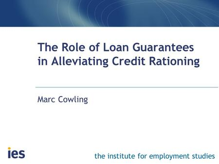 The institute for employment studies The Role of Loan Guarantees in Alleviating Credit Rationing Marc Cowling.