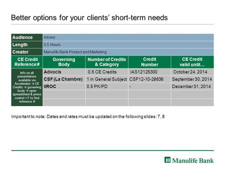 Better options for your clients' short-term needs Audience Advisor Length 0.5 Hours Creator Manulife Bank Product and Marketing CE Credit Reference # Governing.