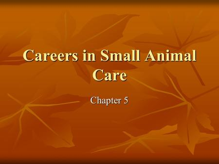Careers in Small Animal Care Chapter 5. Introduction $20.3 billion/year $20.3 billion/year $11 billion/year (vet) $11 billion/year (vet) $9 billion/year.
