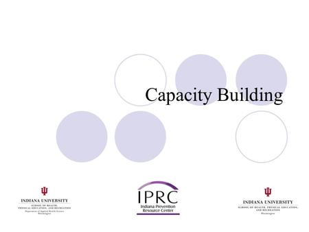 Capacity Building. Good Capacity Building is a Key Part of Sustainability Capacity building is purposeful. It brings the right people to the table. Shows.