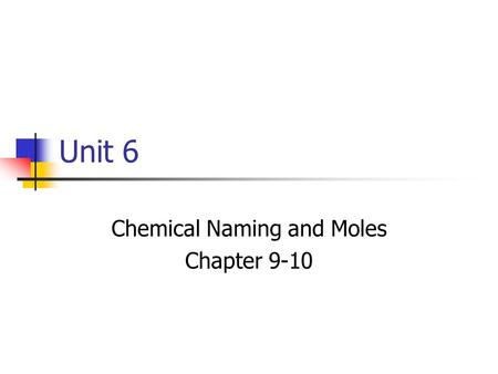 Unit 6 Chemical Naming and Moles Chapter 9-10. Naming Ions Positive Ions, cations, simply retain their name. Na +  Sodium Ion Mg 2+  Magnesium Ion.